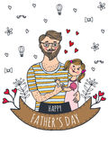 Happy Fathers day card with dad and daughter. Vector illustrated card Royalty Free Stock Images