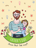 Happy Fathers day card with dad and daughter Stock Photography