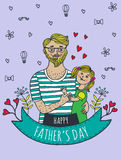 Happy Fathers day card with dad and daughter Royalty Free Stock Photography