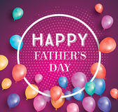 Happy fathers day card with flying balloons and white frame. Stock Photos