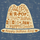 Happy Fathers Day card hand drawn illustration with hat Royalty Free Stock Photo