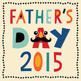 Happy fathers day card 2015 with hand made text. Greeting card or social media template for Father's Day 2015 with hand made text and mustache. Grunge effect vector illustration
