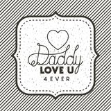 Happy fathers day card with heart. Vector illustration design Royalty Free Stock Photos