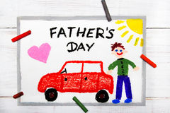 Happy fathers day card made by a child Stock Photography