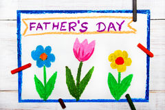 Happy fathers day card made by a child Royalty Free Stock Photo