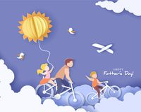 Free Happy Fathers Day Card. Paper Cut Style. Royalty Free Stock Photo - 117469465