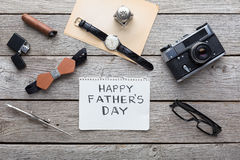 Happy Fathers Day card on rustic wood background Royalty Free Stock Photography