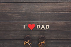 Happy Fathers Day card on rustic wood background Stock Photography