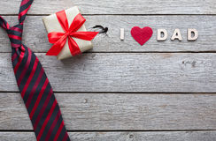 Happy Fathers Day card on rustic wood background royalty free stock photos