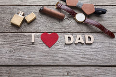 Happy Fathers Day card on rustic wood background Royalty Free Stock Image