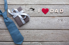Happy Fathers Day card on rustic wood background Royalty Free Stock Images