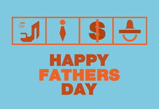 Happy fathers day card,Tie , Money, Nipples, Blue and orange ton Royalty Free Stock Image