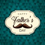 Happy Fathers Day card of vintage mustache label stock photo
