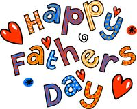 Happy Fathers Day Cartoon Doodle Text Stock Photos