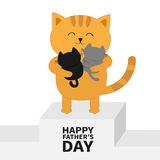 Happy Fathers day. Cat hugging baby kitten. Kittens on hands. Winner stand First place podium pedistal. Kitty hug. Animal family. Cute cartoon pet character Stock Photos