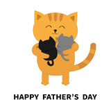 Happy Fathers day. Cat hugging two little baby kitten. Kittens on hands. Kitty hug. Funny Kawaii animal family. Cute cartoon pet c. Haracter set. Flat design Stock Photo