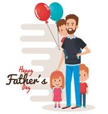 Happy fathers day characters with balloons air. Vector illustration design Stock Photography
