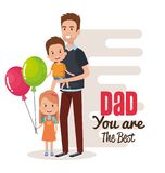 Happy fathers day characters with balloons air. Vector illustration design Royalty Free Stock Image