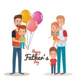 Happy fathers day characters with balloons air. Vector illustration design Royalty Free Stock Photos