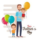 Happy fathers day characters with balloons air. Vector illustration design Royalty Free Stock Photography