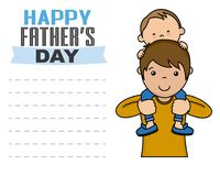 Happy fathers day. Child up on the shoulders of dad. space for text Royalty Free Stock Image