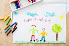 Happy fathers day. Children oil pastel drawing for daddy Stock Photography