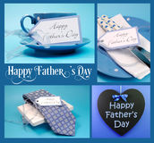 Happy Fathers Day collage. Of four images with gifts, greeting blackboard and sample text on blue background stock photos