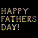 Happy Fathers Day Colorful Sparkling Fireworks square black back Royalty Free Stock Photo