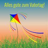 Fathers Day in Germany. Evening sky, grass, kite flying. Happy Fathers Day. Concept of holiday. Evening sky, grass, kite flying. German greeting - Alles gute zum royalty free illustration