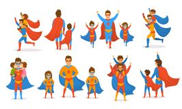 Happy fathers day concept isolated vector illustration scenes set, dad and kids, boy and girl playing superheroes, dressed  in sup. Er hero costumes Royalty Free Stock Photo