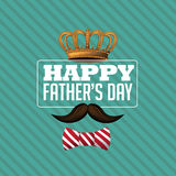 Happy Fathers Day crown mustache design EPS 10 vector. Happy Fathers Day crown mustache design. EPS 10 vector royalty free stock illustration for greeting card Stock Photos