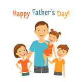 Happy fathers day. Dad with children Stock Photos