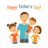 Happy fathers day Dad with kids Stock Images