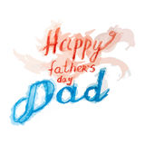 Happy Fathers Day Dad lettering with ribbon greeting card. Fathers day watercolor hand drawn vector illustration eps10. Stock Photo