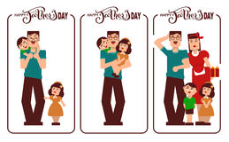 Happy Fathers Day. Dad, mom and kids happy family. Lettering text for template greeting card Stock Photography