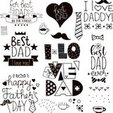 Hand drawn happy fathers day black and white doodles stock illustration