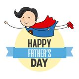 Happy fathers day. Father disguised as a hero Stock Images