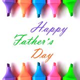 Happy Fathers Day. Happy Father's Day with some colorful markers royalty free stock photos