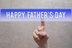 Happy fathers day - finger pressing button royalty free stock image