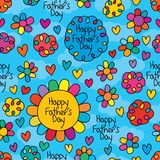Happy Fathers Day flower hole sky seamless pattern. This illustration is design abstract father not a drawer but teach the easy way drawing flower give to child vector illustration