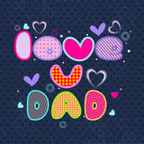 Happy Fathers Day flyer, banner or poster with colorful text lov Stock Photos
