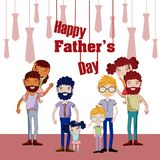 Happy Fathers Day Funny Cartoons Royalty Free Stock Photo