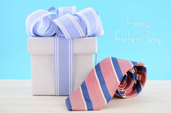 Happy Fathers Day Gift with Blue and White Ribbon Stock Photos