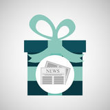 Happy fathers day with gift newspaper Stock Image