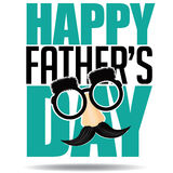 Happy Fathers Day glasses mustache design EPS 10 vector Stock Images
