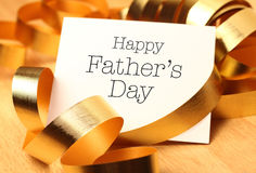 Happy fathers day with gold decoration. Royalty Free Stock Images