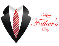 Happy fathers day, greeting card with coat and necktie. I have created White gift box with red ribbon bow, isolated on white in vector vector illustration