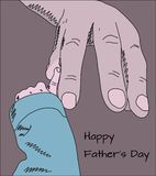 Happy fathers day greeting card doodle sketch of big father hand. And small baby finger in vintage pastel colors Royalty Free Stock Images