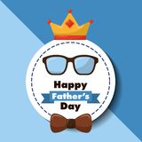 Happy fathers day greeting card glasses bow and crown. Vector illustration Royalty Free Stock Image