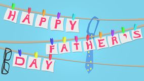 Free Happy Fathers Day Greeting Card Illustration, Clothes Line Style Stock Photo - 117583080